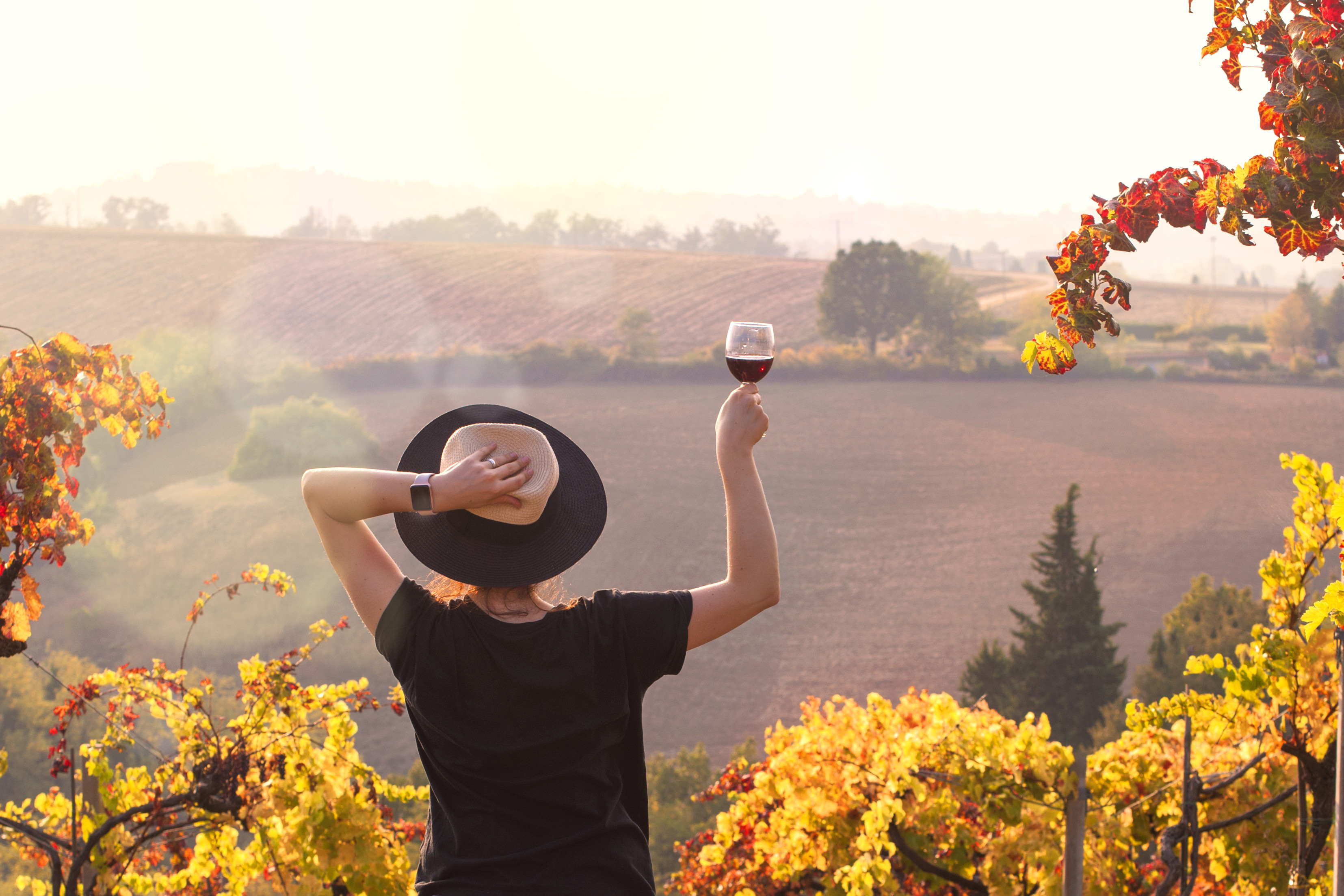 Girl in a hat at sunset and a glass of wine in hand.